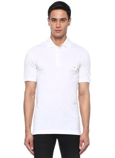 Dolce&Gabbana Dolce&Gabbana  Polo Yaka Logo Patchli Dokulu T-shirt 101431774 Beyaz